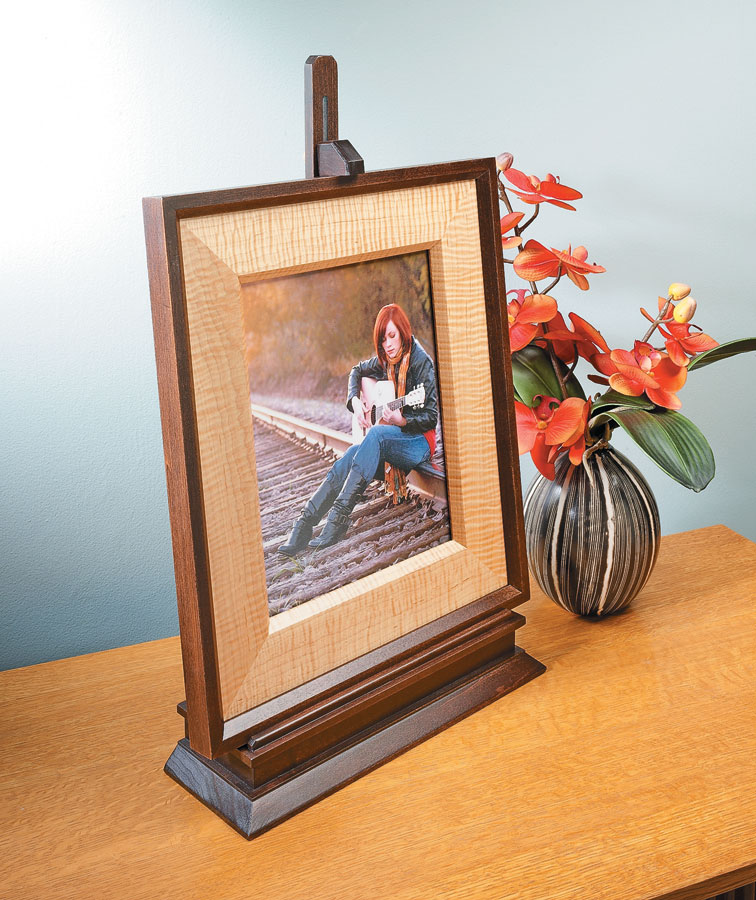 Your favorite art or photograph will look great in this easy-to-build frame resting on a classic, adjustable easel.