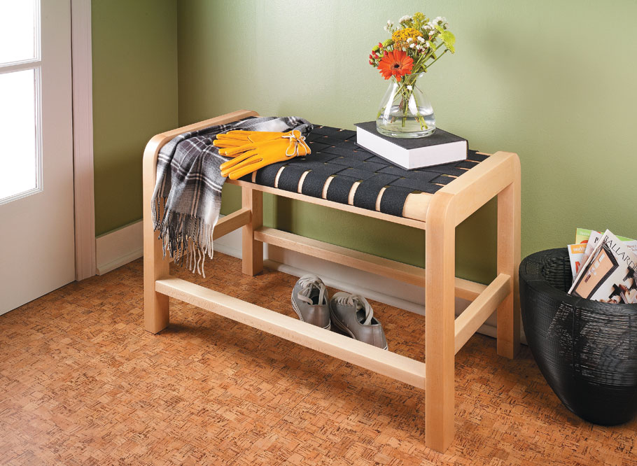 This compact bench has a comfortable, woven cotton seat. And built with mortise and tenon joinery, it will last for years.