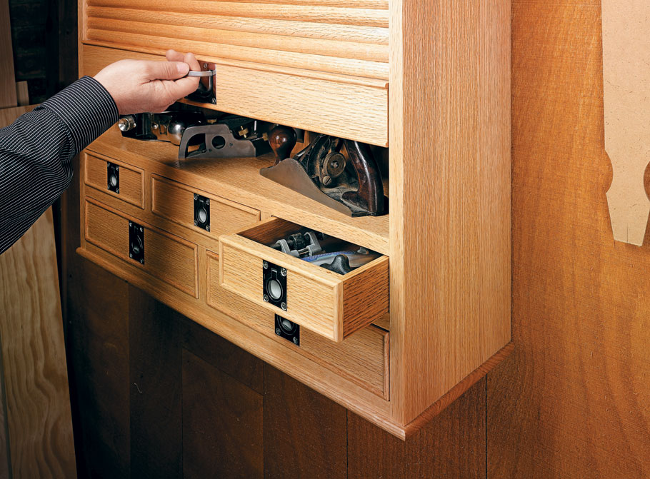 The combination of a traditional look, abundant storage, and unique function makes this cabinet the perfect home for your trusted tools.