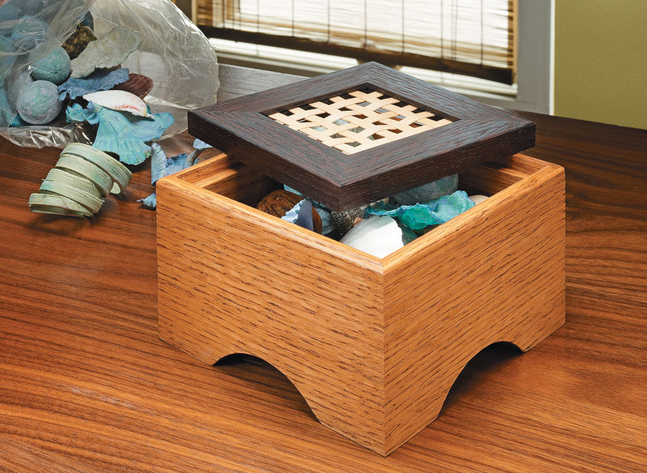 Contrasting woods and an interesting, woven panel make this box an impressive table accent, plus it's easy to build.