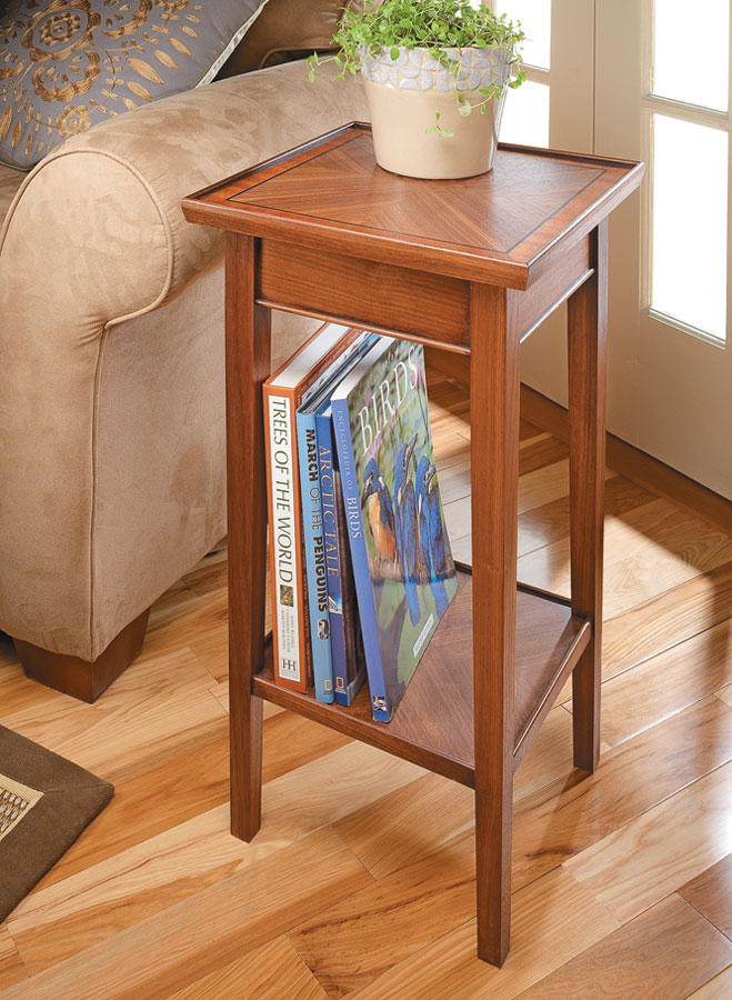 The beautifully veneered top and shelf, as well as the tasteful details, combine to give this small table a very big impact.
