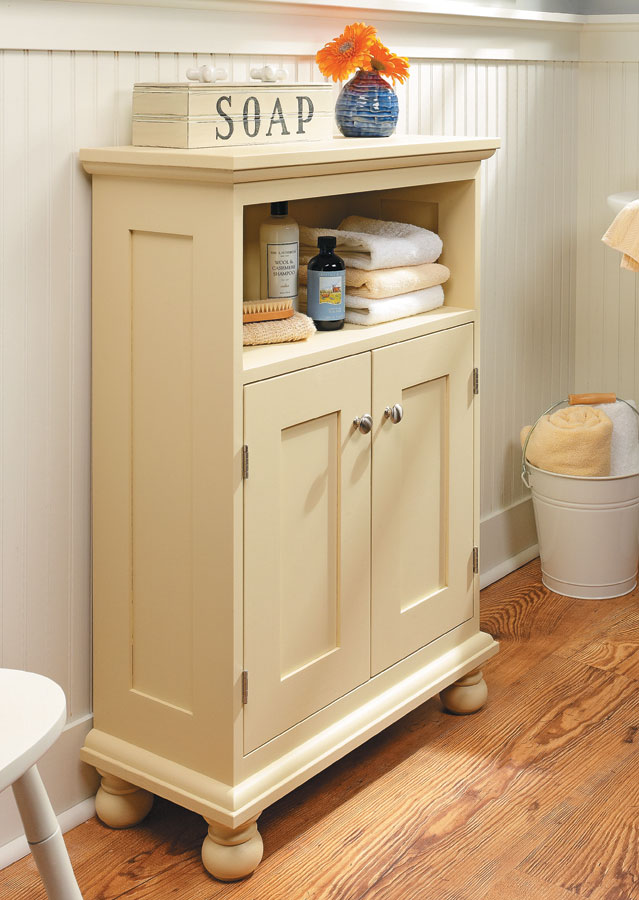 If you need practical storage in a small package, this simple, eye-catching cabinet will fill the bill.