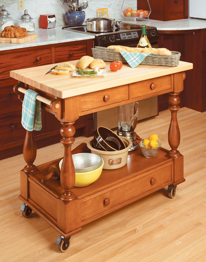 With a large worksurface and lots of handy storage, this roll-around cart is sure to be a hit.