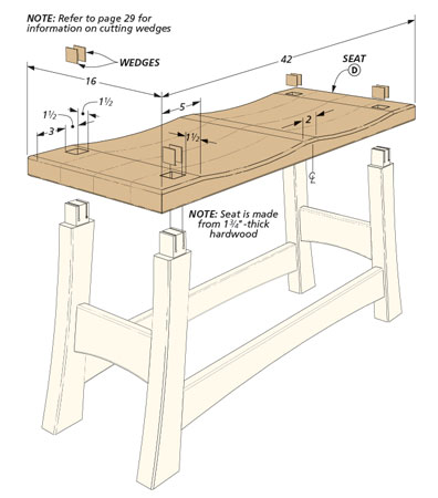 Mortise and tenon joinery, a sculpted seat, and curved legs combine to make this bench an elegant addition to your home.
