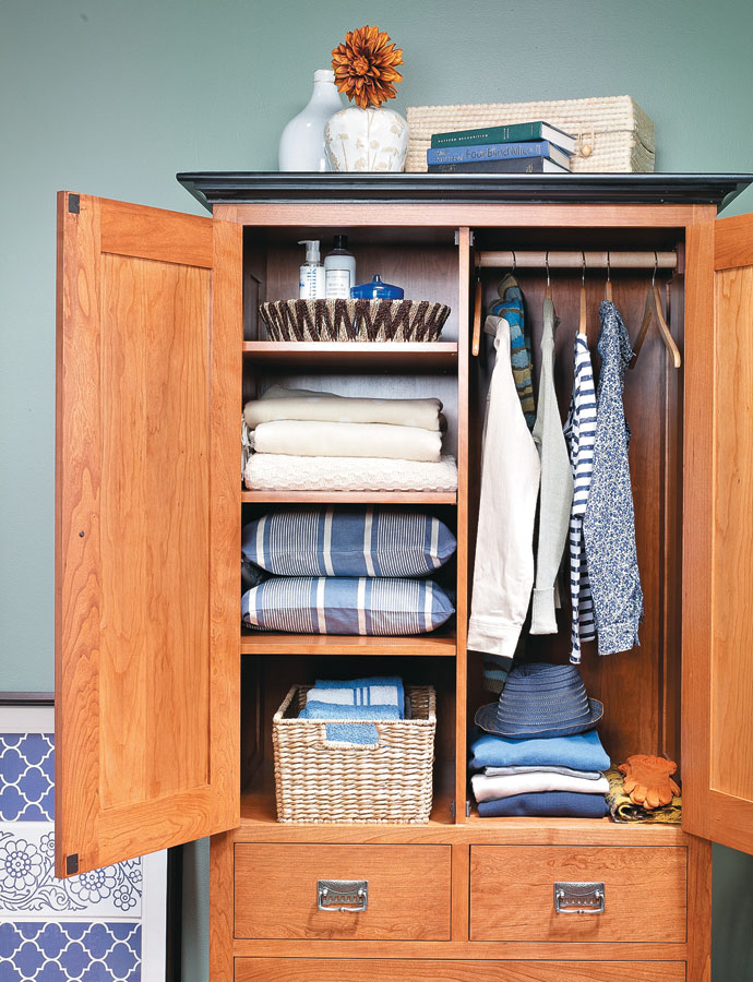 This stylish armoire is a standout, and with three types of storage, it can serve all of your storage needs.