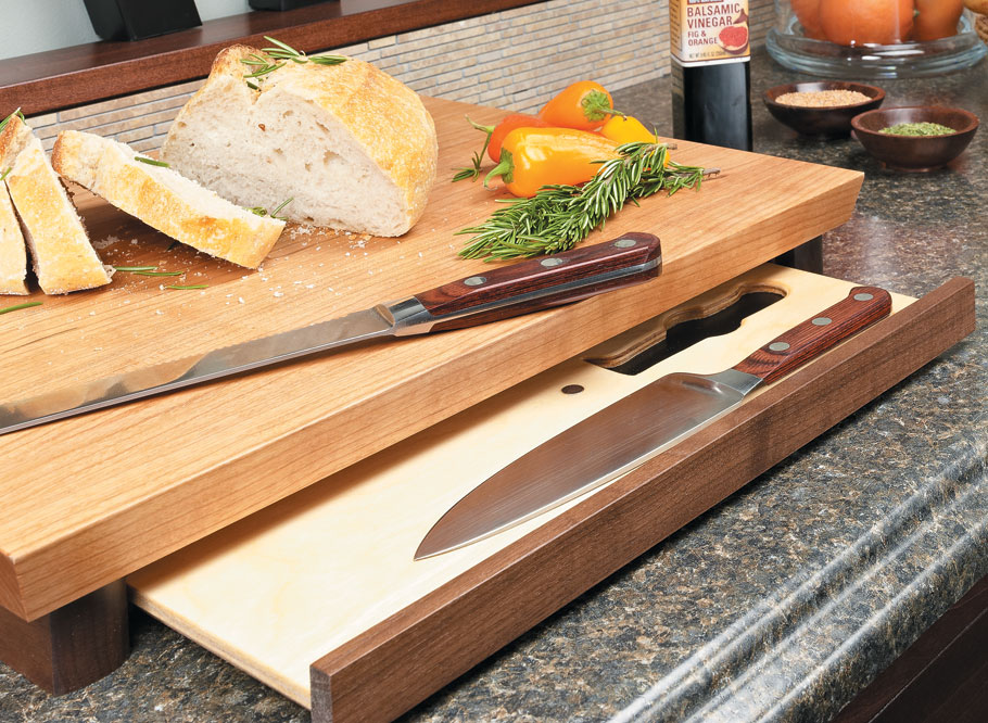 This simple weekend project looks great and has a hidden surprise beneath - storage for a set of kitchen knives.