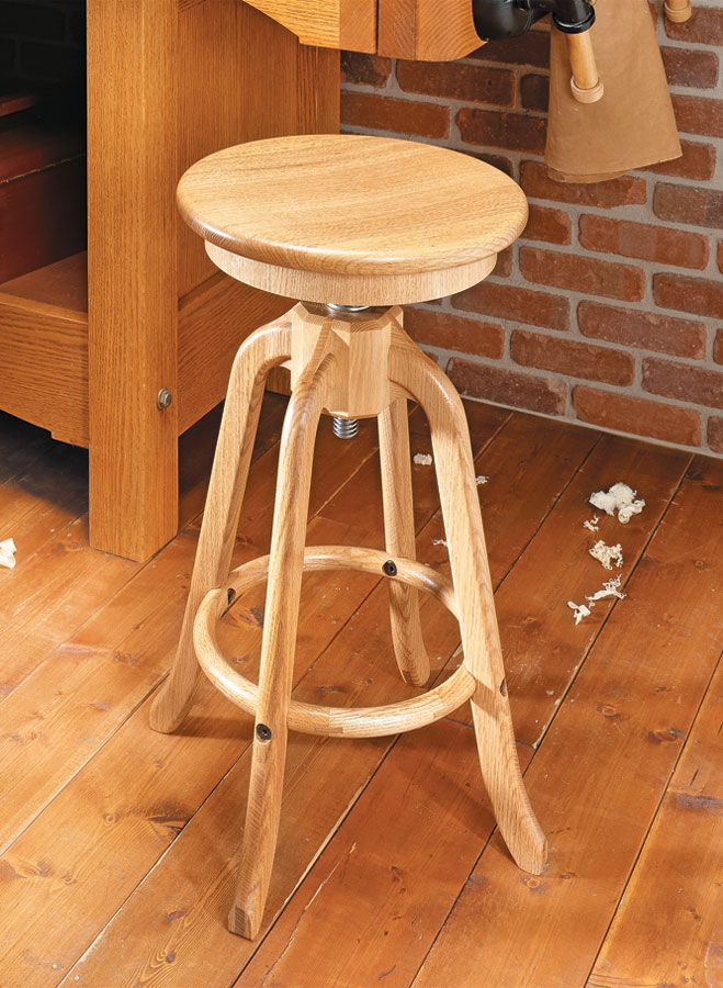 Adjustable Shop Stool Woodworking Project Woodsmith Plans