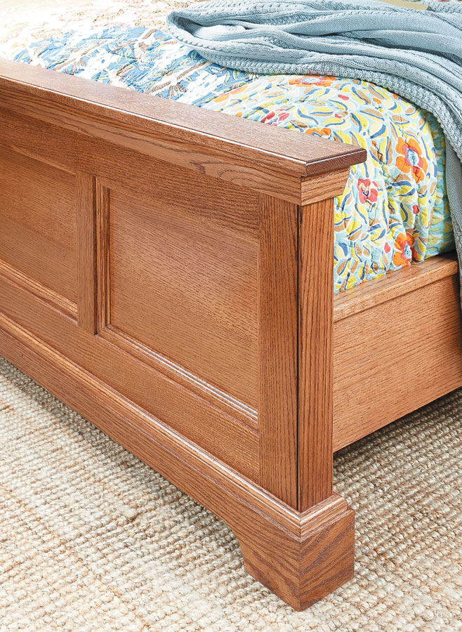 The showpiece of any bedroom suite is the bed. This oak bed features rock-solid construction with eye-appealing details.