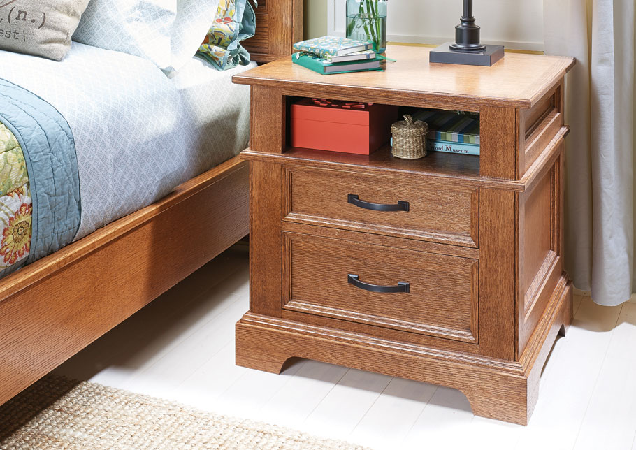 With its frame and panel sides and elegant moldings, this nightstand looks so good you might consider making two of them.