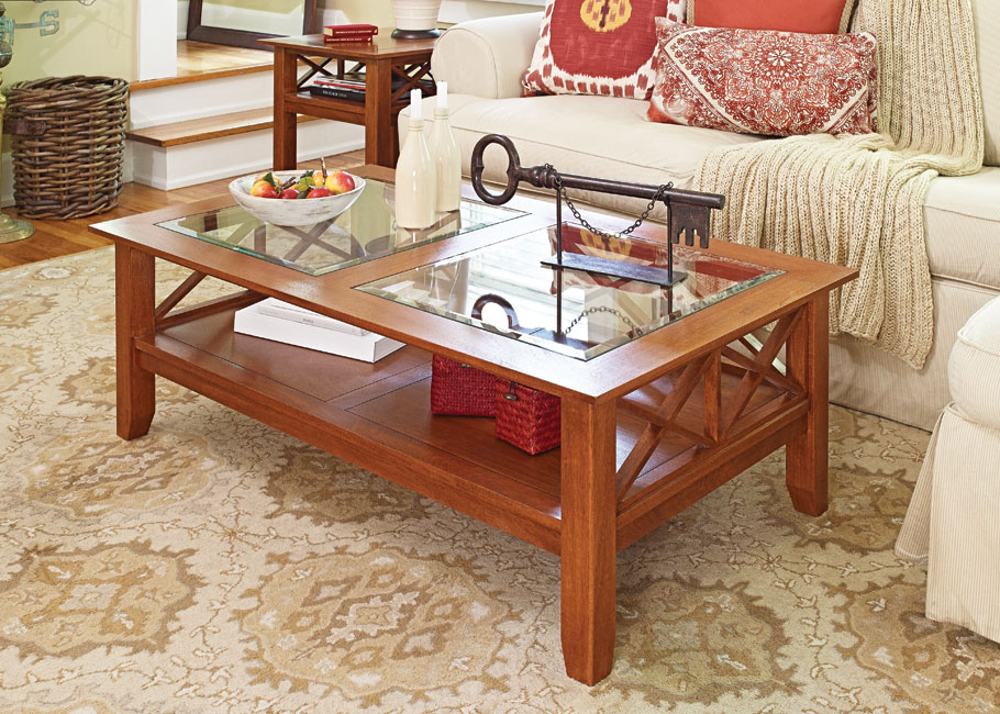 With solid-wood parts, a beveled glass top, and unique gridwork, this is one table you'll be proud to showcase in your home.