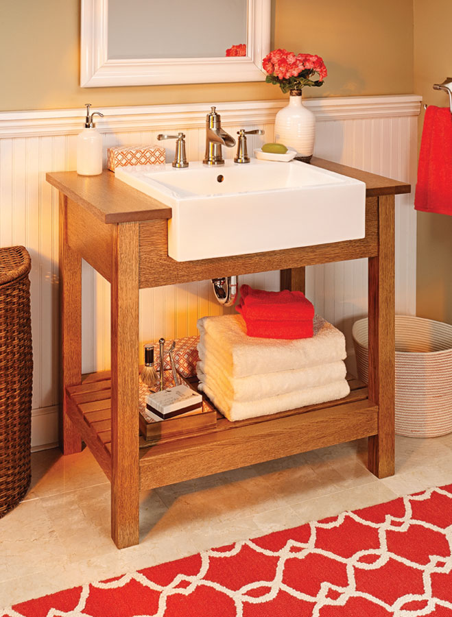 Give your bathroom a great new look. It's as easy as building this unique solid-wood sink stand with a vessel sink and faucet.