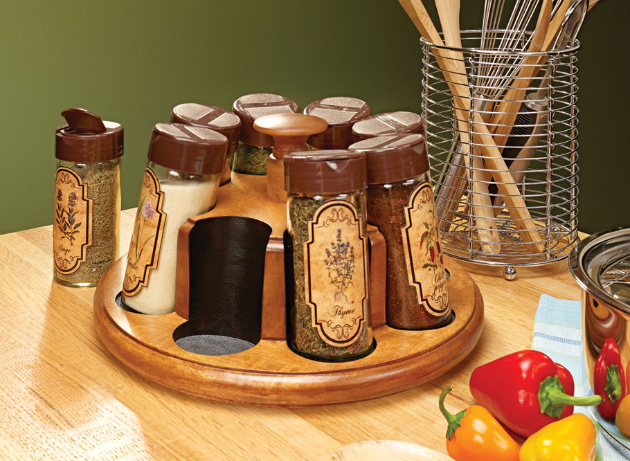 Solid-wood construction and interesting drill press techniques put an attractive new spin on your spice collection.
