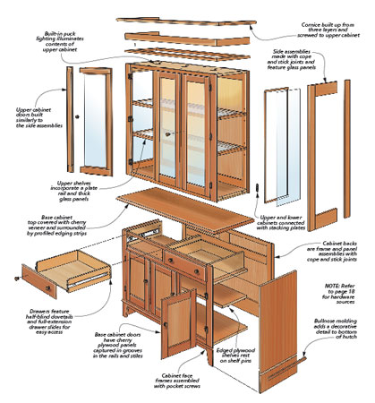 Every dining room set needs a great place for storing dinnerware, and his elegant cherry hutch provides the perfect solution.