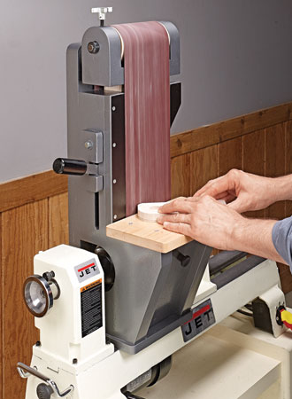 Lathe-Driven Belt Sander