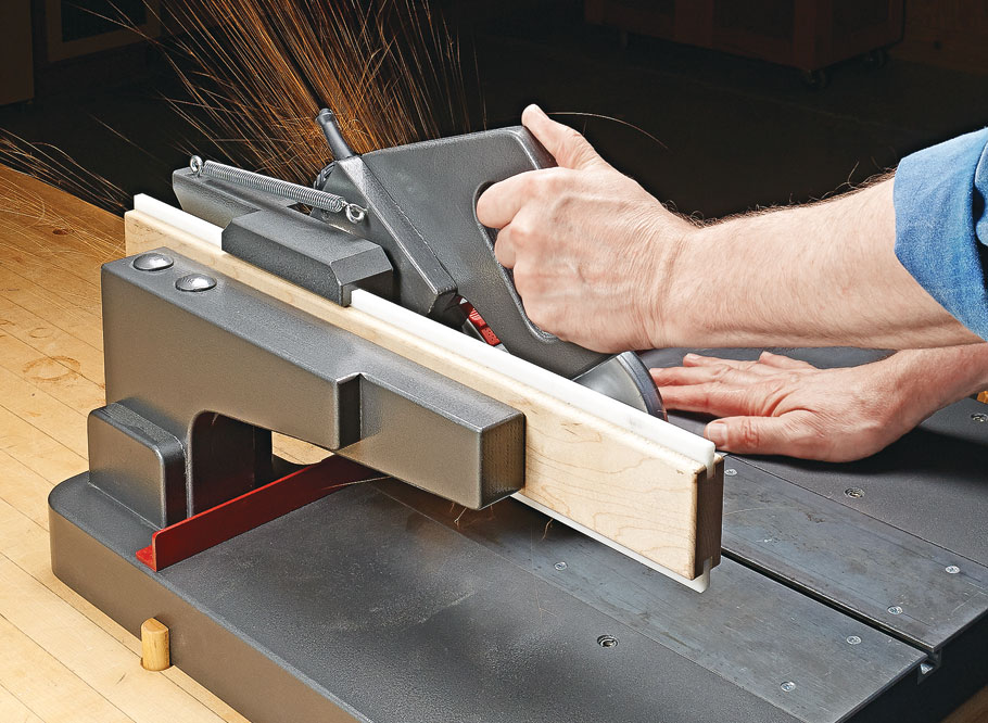 This unique shop-made project transforms an ordinary angle grinder into a benchtop tool for cutting metal parts accurately and easily.