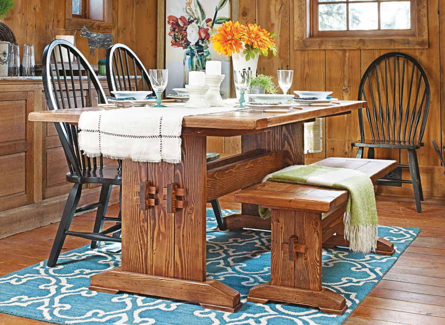 Large Farm Table Plans: Farmhouse Table & Bench