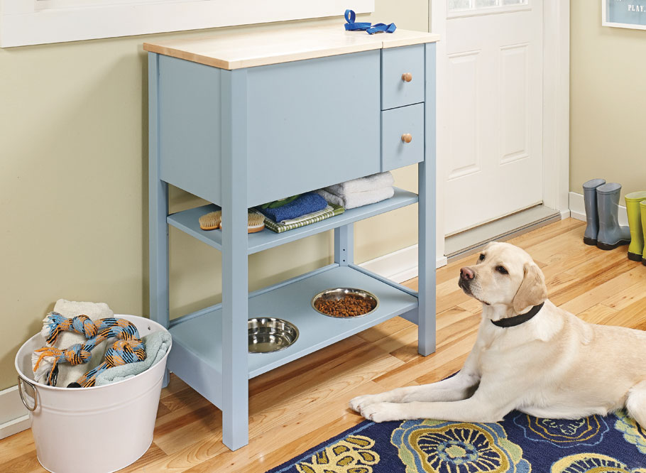 Enjoy the convenience of food, leash, and toy storage, plus elevate your pet's kibble and water to a comfortable height, all in one stylish space.