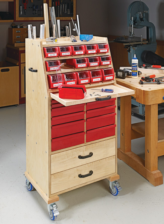 With simple plywood construction and a wide range of storage options, this cart holds a lot of supplies and lets you roll them right to the job at hand.