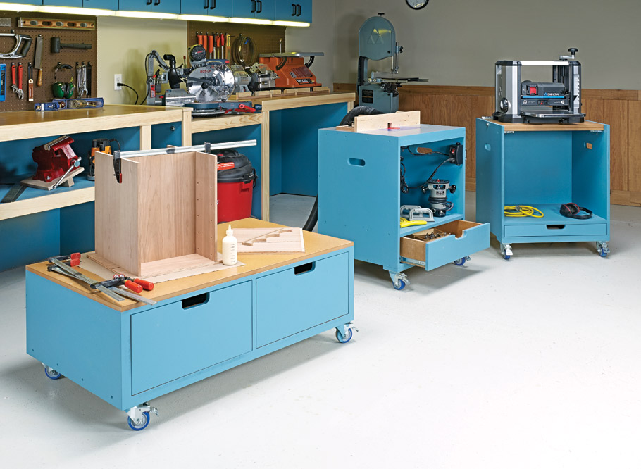 Unique construction and low-cost materials combine to create a versatile work area and plenty of storage in a compact space.