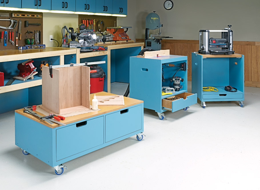 A flip-top tool stand, a handy router table, and an assembly cart add capability to your workshop. Best of all, they tuck out of the way when they aren't in use.
