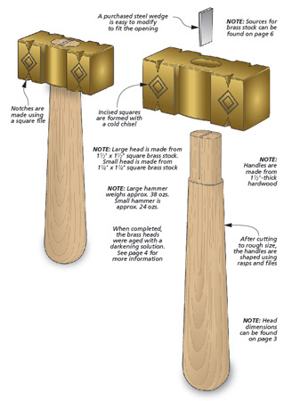 Create your own set of shop hammers using brass stock and a chunk of hardwood. You're sure to pick up a few new skills along the way.