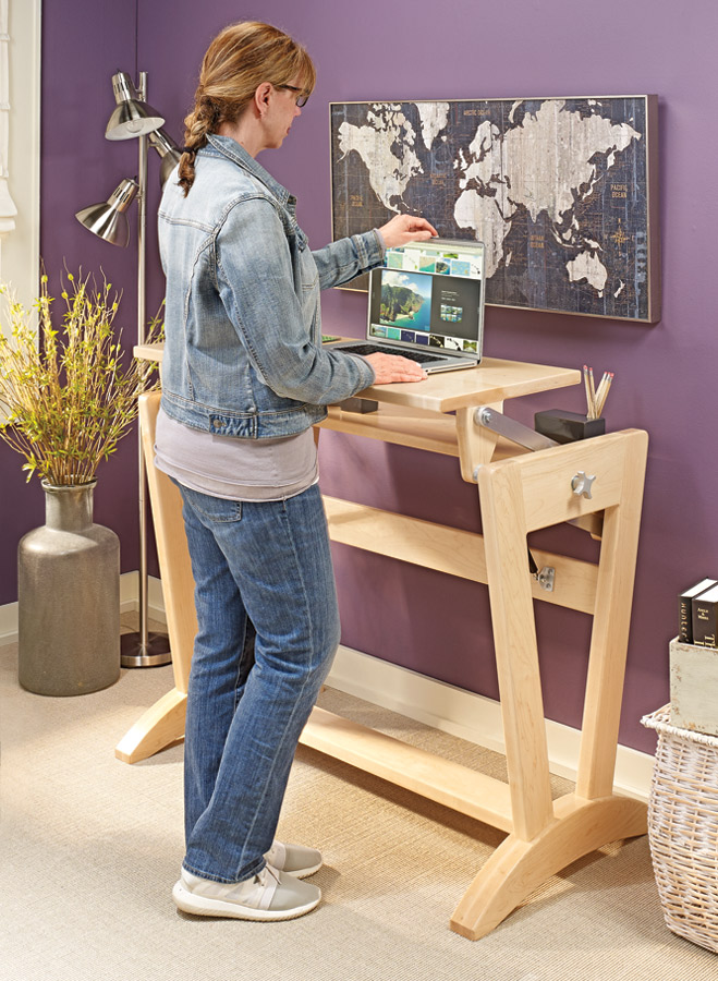 Whether you prefer to stand or sit while working, this unique desk can adjust to suit your needs.