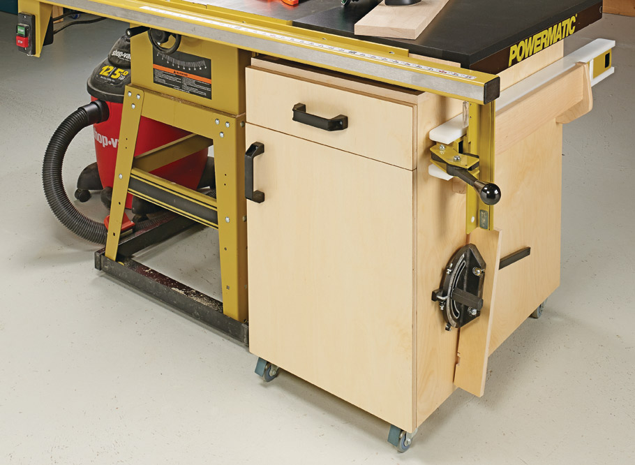 A storage cart that tucks away under the extension wing of a table saw isn't exactly a new idea. But this one adds a unique twist.
