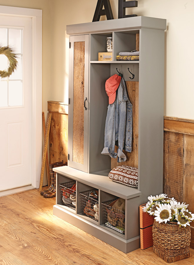 This stylish project uses old barn boards to accent the painted finish... It's a beautiful place to organize the clutter in your entryway.