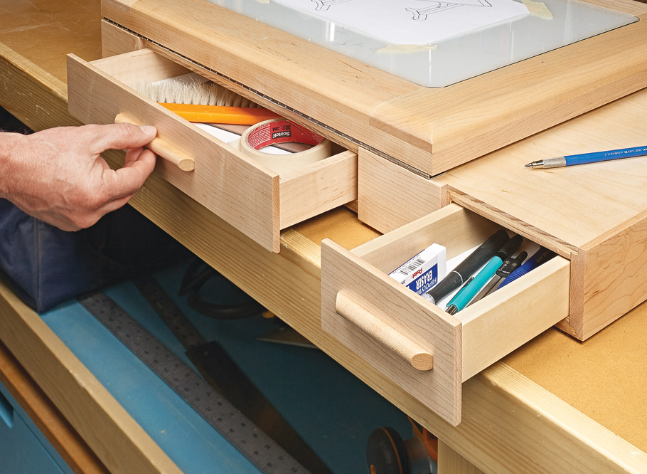 Sketch out your next project on a smooth glass surface that tilts to a comfortable angle. Two drawers corral all your drawing supplies.