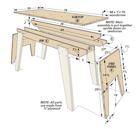 The simple plywood construction and solid design of these workshop pieces makes for a quick and inexpensive shop setup.