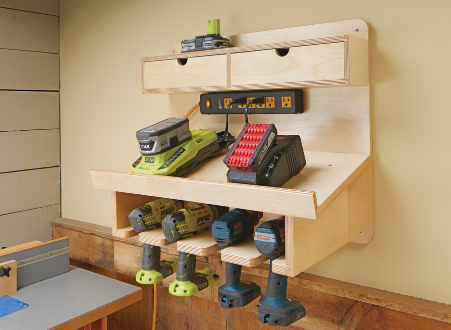 This wall-mounted station will ensure that all your cordless drills are fully charged and ready to go at a moment's notice.