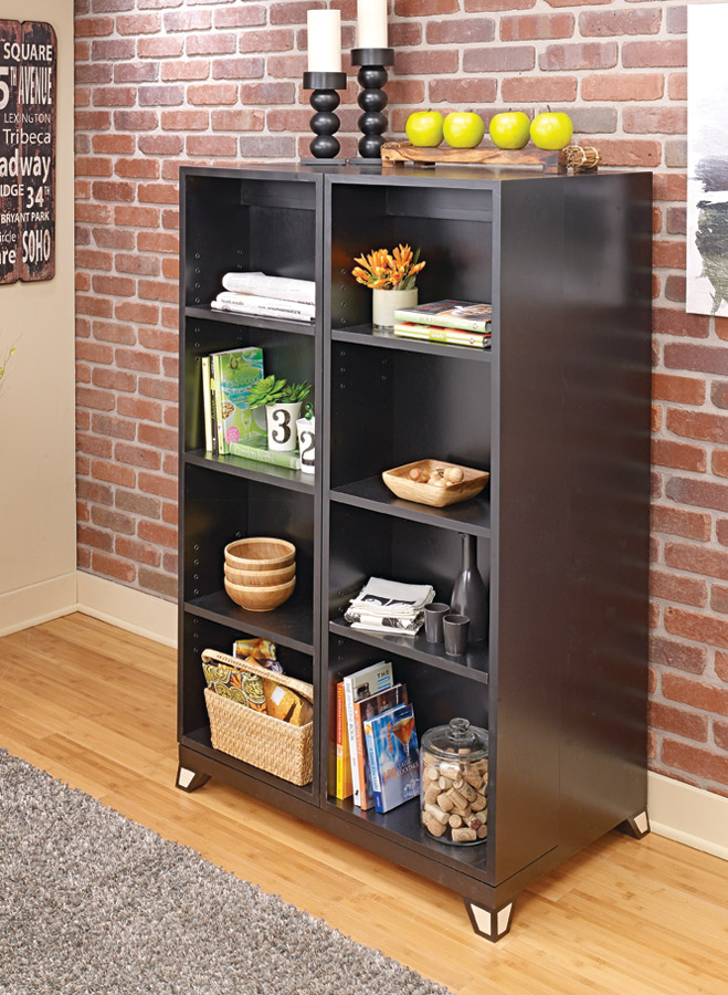 Little extras are fun to stumble upon... This cabinet provides that with a hidden area that gives you twice the shelf space.