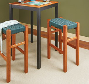 Woven-Seat Tall Stool