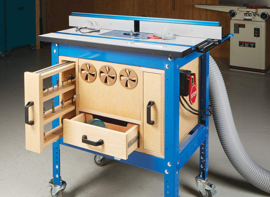 Fill the unused space under your router table with a storage cabinet for all of your router bits and accessories.