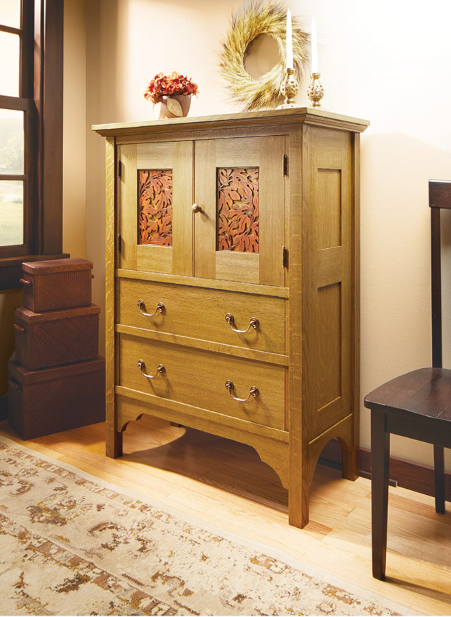 With colorful carved panels and a tinted-varnish finish, this linen press is a joy to build and a beautiful addition to any room in your house.