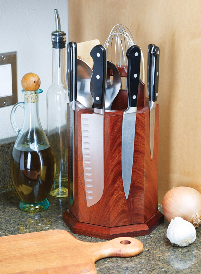 This knife block not only stores your knives, but displays them as well.