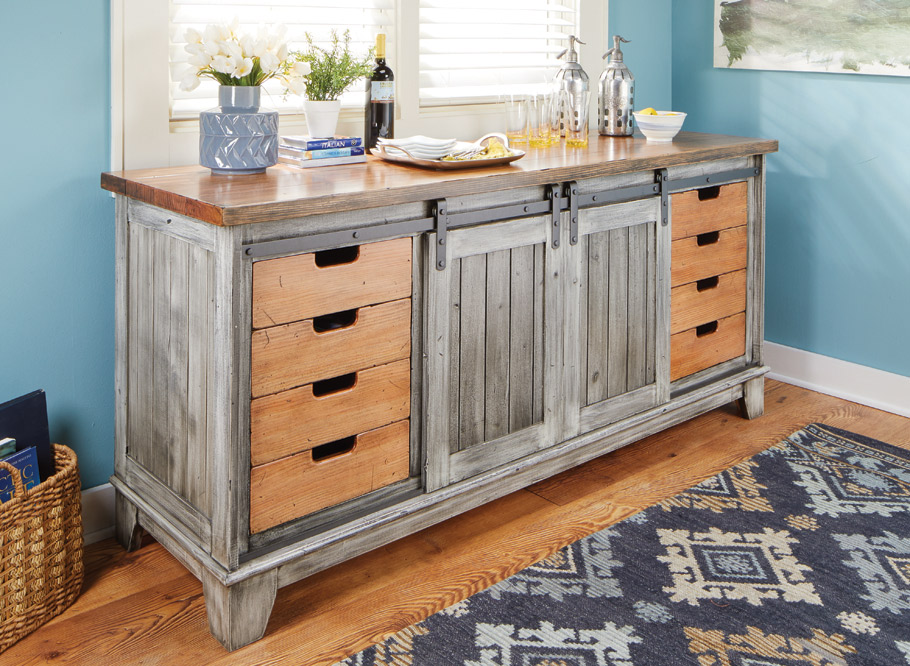 "Sliding, ""barn-door"" style hardware is all the rage in interior design. Here, we shrink the concept for use in this rustic-looking cabinet."
