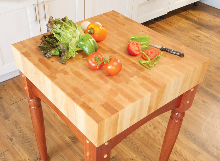 This table is the real deal. The end-grain top is designed to take the blows and slices from your finest knives without damaging them.