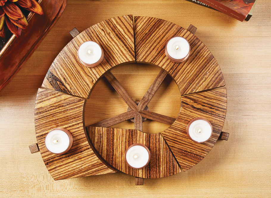 Perfect to give as a gift or to decorate your table, this tealight candle holder goes together in just a few short hours in the shop.