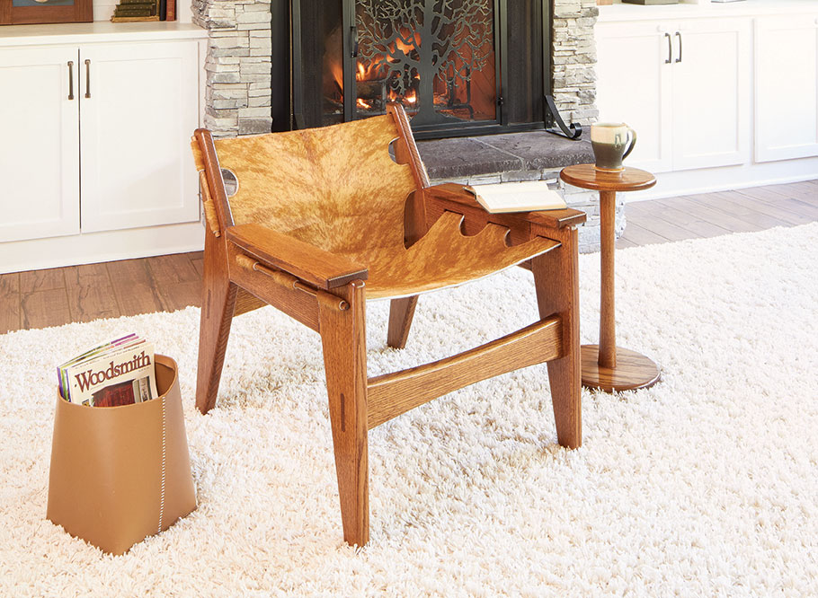 A heavy oak frame combined with simple construction and a hair-on hide creates a chair that's not only comfortable, but handsome as well.