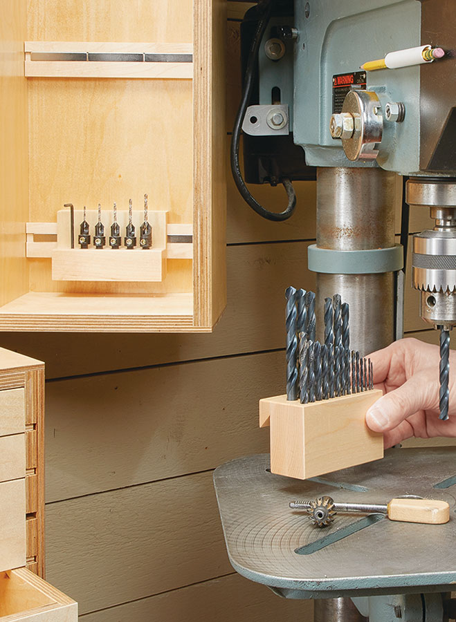 "You'll never ""misplace"" a drill bit or accessory again with this combination, wall-mounted storage cabinet and chest."