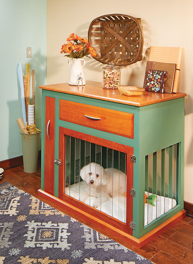 A combination of a painted finish and hardwood makes this dog kennel a welcome replacement for traditional wire-style crates.