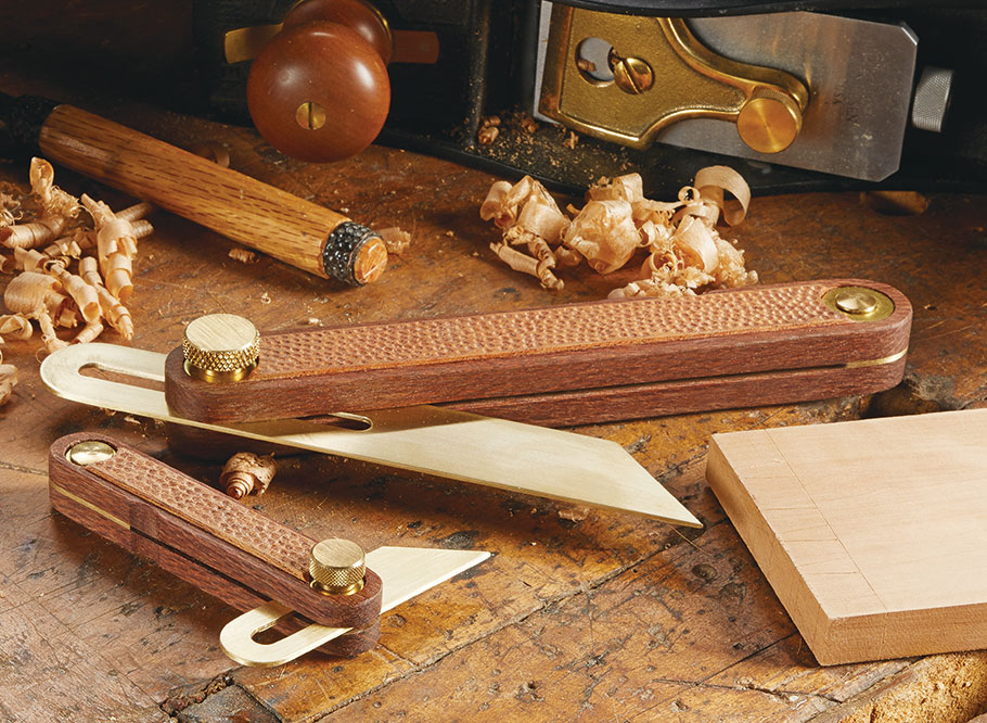 Brass blades paired with wood bodies make these bevel gauges as attractive as they are useful.