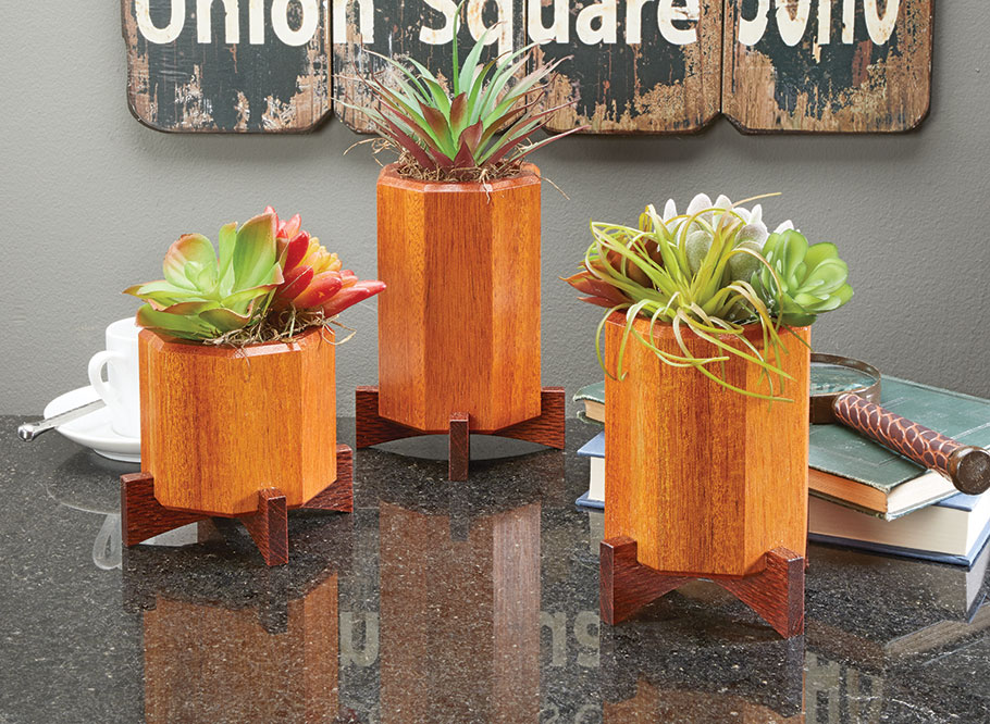 The small size of these plant stands make them the perfect weekend project.