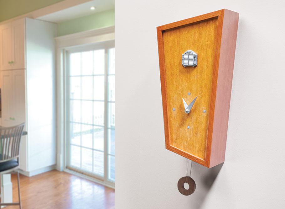 While the unique shape of this cuckoo clock may be the first thing you notice, your eye will soon catch other, more subtle details.