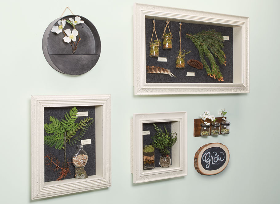 Featuring custom frames and a decorative painted finish, these attractive boxes are a great way to showcase your prized collections.