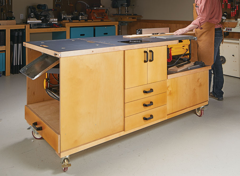 Get the most out of your shop space by combining tools into a compact station. This workstation packs loads of storage and tools in a mobile bundle.