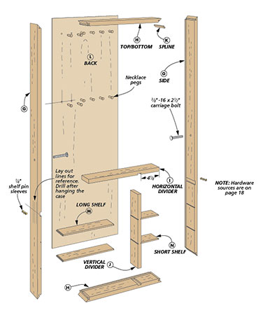 The front of this floor-standing mirror opens to reveal storage compartments for jewelry, scarves, or other accessories. And the mirror tilts for the optimum viewing angle.