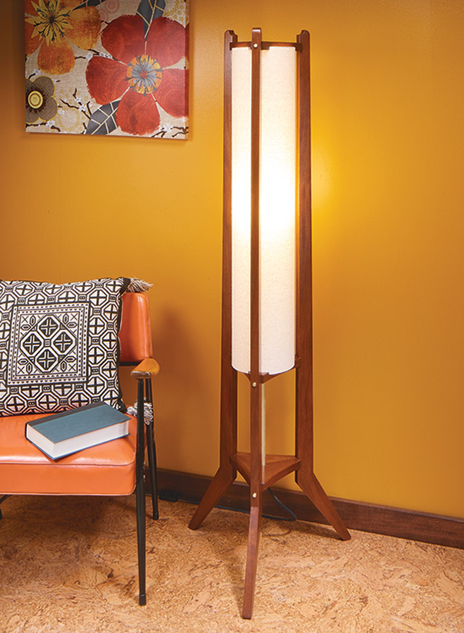 This mid-century style floor lamp looks simple, but has enough woodworking to provide you with a challenge.