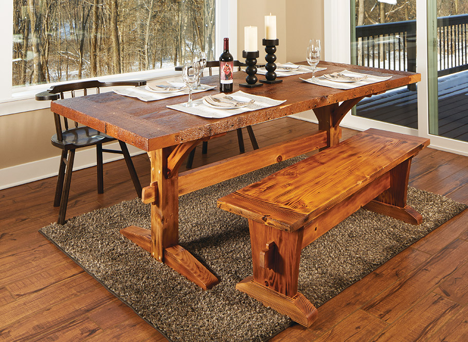 Rustic Dining Table Bench Woodworking Project Woodsmith Plans